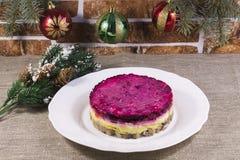 Salada favorita para arenques dos russos do ano novo sob um casaco de pele Fotografia de Stock