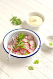 Salada fresca com as sementes do rabanete e de papoila fotografia de stock royalty free