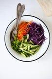 Salada fresca com cenouras e couve Imagens de Stock Royalty Free
