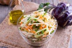 Salada fresca com couve-rábano, pepino, cenouras e ervas em uma bacia Foto de Stock Royalty Free