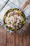 Salada fresca com galinha, cebola, aipo e pepino t vertical Fotos de Stock