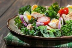 Salada fresca com galinha, tomates, ovos e alface na placa fotografia de stock royalty free