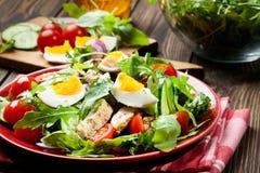 Salada fresca com galinha, tomates, ovos e rúcula na placa Imagem de Stock