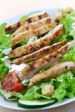 Salada fresca com peito, alface e tomate de galinha fotografia de stock