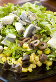 Salada fresca com peixes Fotos de Stock Royalty Free
