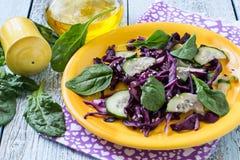 Salada fresca da vitamina da couve vermelha com pepino e espinafres Foto de Stock Royalty Free