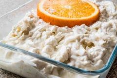 Salada fresca do aipo com laranja e iogurte Fotos de Stock Royalty Free