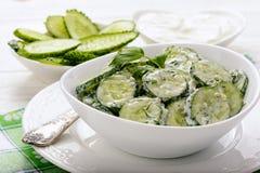 Salada fresca do pepino com iogurte e ervas Fotos de Stock