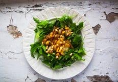 Salada fresca em uma placa branca fotos de stock
