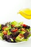 Salada fresca em uma placa com petróleo verde-oliva Imagens de Stock Royalty Free