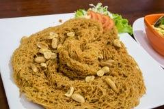 A salada friável tailandesa deliciosa do peixe-gato Imagens de Stock