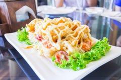 Salada fritada do camarão Imagens de Stock Royalty Free