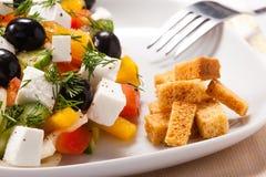 A salada grega com fritos de pão e verdes Imagens de Stock Royalty Free