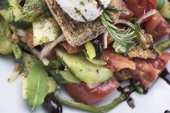 A salada grega com queijo 11close do mizithra levanta o tiro Imagens de Stock