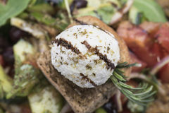 A salada grega com queijo 10close do mizithra levanta o tiro Imagens de Stock Royalty Free