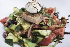 Salada grega com queijo 3 do mizithra Imagem de Stock Royalty Free