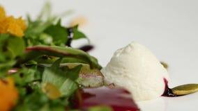 Salada italiana da beterraba do assado Salada de beterrabas roasted com queijo e pinhões de cabra no prato branco isolado em um b Imagens de Stock Royalty Free