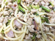 Salada miniced picante da carne de porco dos espaguetes Imagens de Stock Royalty Free