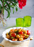 Salada morna do abobrinha, da batata e do tomate Imagens de Stock Royalty Free