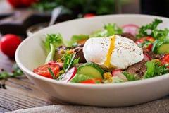 Salada morna do fígado de galinha, do rabanete, do pepino, do tomate e do ovo caçados fotos de stock