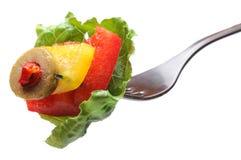Salada na forquilha Imagem de Stock