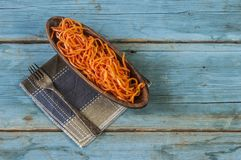 Salada picante da cenoura, estilo coreano asiático imagem de stock