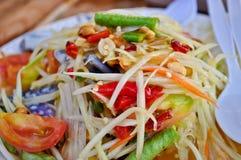 Salada picante da papaia Imagens de Stock