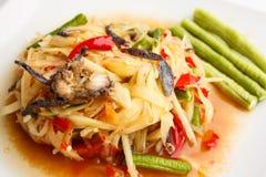 Salada picante da papaia com caranguejo salgado Imagem de Stock