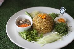 Salada picante do sul tailandesa do arroz com vegetais Fotografia de Stock Royalty Free
