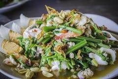 Salada picante do vegetal do marisco Fotos de Stock Royalty Free