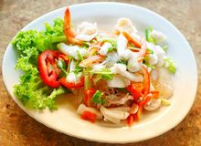 Salada picante tailandesa Yum Talay do marisco imagens de stock royalty free