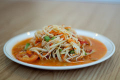 Salada quente e picante da papaia Fotos de Stock Royalty Free