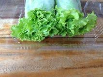 A salada rola na caixa plástica clara Imagens de Stock