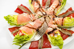 Salada salmon da anchova do alimento Foto de Stock Royalty Free