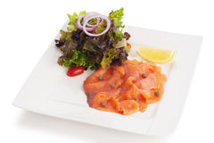 Salada salmon fumada Fotografia de Stock