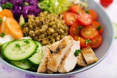 Salada saudável com galinha, tomates, pepino, alface, cenoura, aipo, couve vermelha e feijão de mung Foto de Stock