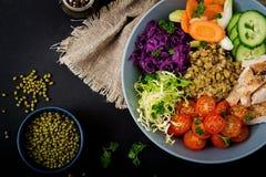 Salada saudável com galinha, tomates, pepino, alface, cenoura, aipo, couve vermelha e feijão de mung no fundo escuro Foto de Stock