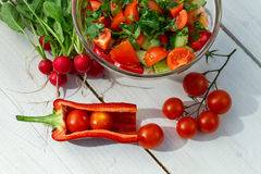 A salada saudável fêz a ââin o jardim Fotos de Stock
