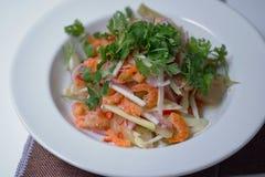 Salada secada agridoce do camarão com coentro e salmoura imagem de stock