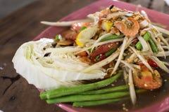 Salada tailandesa 2 da papaia Fotos de Stock Royalty Free