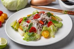 Salada tailandesa picante com os macarronetes da carne picada e de arroz SENSOR DE YAM WOON foto de stock