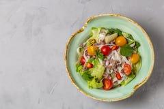 Salada tailandesa picante com os macarronetes da carne picada e de arroz SENSOR DE YAM WOON A vista da parte superior C?pia-espa? imagens de stock royalty free