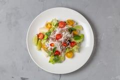 Salada tailandesa picante com os macarronetes da carne picada e de arroz SENSOR DE YAM WOON A vista da parte superior C?pia-espa? fotos de stock royalty free