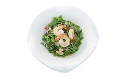 Salada tailandesa picante da haste amarga da cabaça com camarão no fundo branco isolado imagem de stock