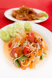 Salada tailandesa tradicional da papaia deliciosa Fotografia de Stock