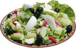 Salada temperado com vegetais, ovos, pepinos e ervas Imagem de Stock Royalty Free