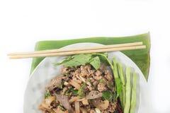 Salada triturada picante da carne de porco, erva-benta triturada da carne de porco com alimento picante, tailandês Foto de Stock