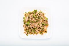 Salada triturada picante da carne de porco, erva-benta triturada da carne de porco com picante Foto de Stock Royalty Free