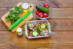 Salada vegetal com rabanete e pepinos Alimento saudável imagem de stock royalty free