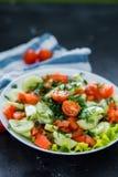 Salada vegetal em um fundo preto, close-up da mola fresca fotografia de stock royalty free